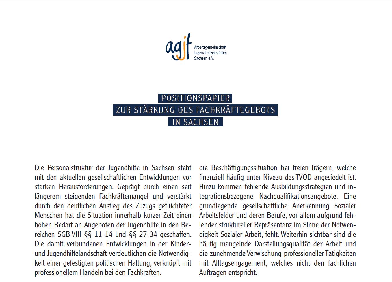 Positionspapier zur Stärkung des Fachkräftegebots in Sachsen – AGJF Sachsen